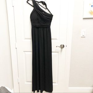 BCBG Black One Shoulder Long Jersey Dress size 2